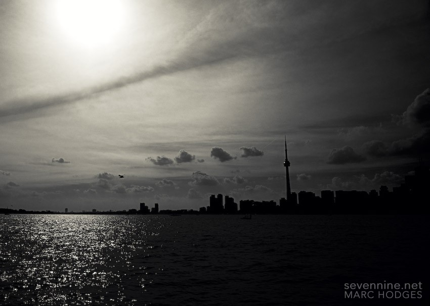 Looking into the Sun at the Toronto Skyline