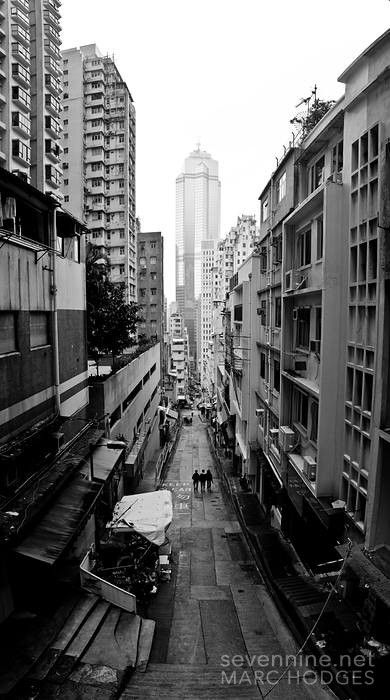 Walking Downhill in Hong Kong