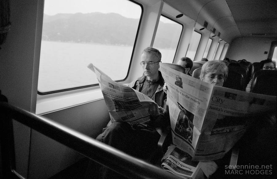 Reading the Paper on the Ferry