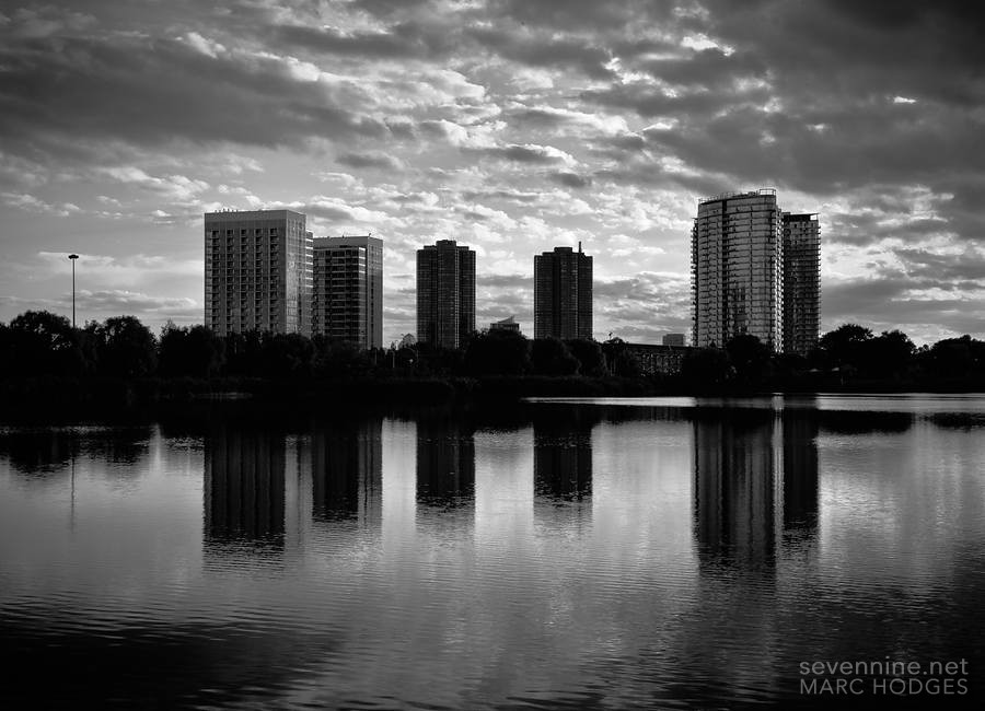 Condos at Sunset (BW)