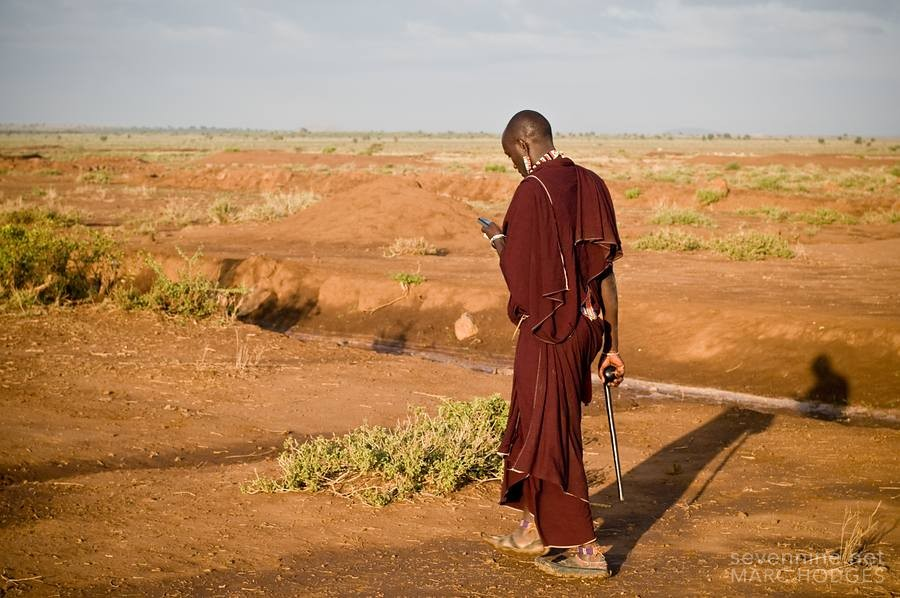 Maasai with his Cell Phone