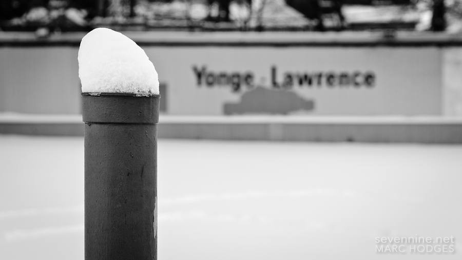 Snow on a Post at Yonge and Lawrence