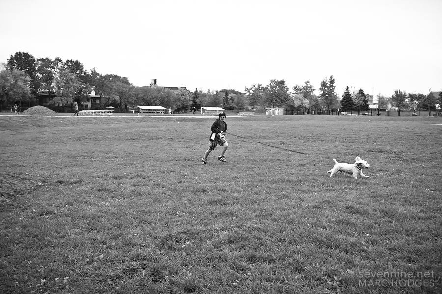 Running with his Dog